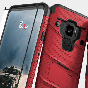 Equip your Samsung Galaxy S9 with military grade protection and superb functionality with the ultra-rugged Bolt case in red from Zizo. Coming complete with a tempered glass screen protector and a handy belt clip / kickstand.