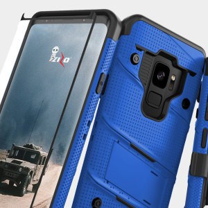 Equip your Samsung Galaxy S9 with military grade protection and superb functionality with the ultra-rugged Bolt case in blue from Zizo. Coming complete with a tempered glass screen protector and a handy belt clip / kickstand.