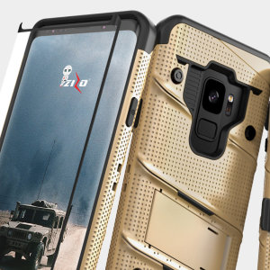 Equip your Samsung Galaxy S9 with military grade protection and superb functionality with the ultra-rugged Bolt case in gold from Zizo. Coming complete with a tempered glass screen protector and a handy belt clip / kickstand.