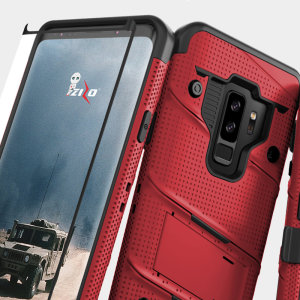 Equip your Samsung Galaxy S9 Plus with military grade protection and superb functionality with the ultra-rugged Bolt case in red from Zizo. Coming complete with a tempered glass screen protector and a handy belt clip / kickstand.