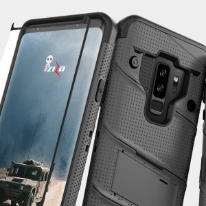 Equip your Samsung Galaxy S9 Plus with military grade protection and superb functionality with the ultra-rugged Bolt case in grey from Zizo. Coming complete with a tempered glass screen protector and a handy belt clip / kickstand.