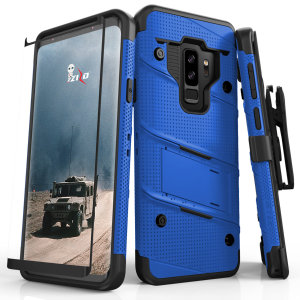 Equip your Samsung Galaxy S9 Plus with military grade protection and superb functionality with the ultra-rugged Bolt case in blue from Zizo. Coming complete with a tempered glass screen protector and a handy belt clip / kickstand.