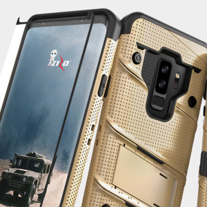 Equip your Samsung Galaxy S9 Plus with military grade protection and superb functionality with the ultra-rugged Bolt case in gold from Zizo. Coming complete with a tempered glass screen protector and a handy belt clip / kickstand.
