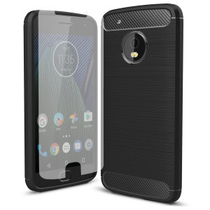 Protect your Motorola Moto G5 with this rugged, yet flexible case, which features a premium-looking carbon fibre and brushed metal design in black. Also comes with a complimentary tempered glass screen protector for ultimate all-round protection.