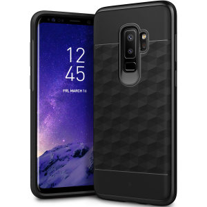 Protect your Samsung Galaxy S9 Plus with this stunning premium dual-layered shell case in black. Made with tough dual-layered yet slim material, this hardshell body with a sleek metallic bumper features an attractive two-tone finish.