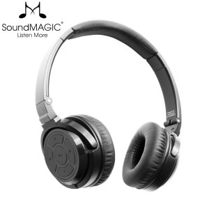 Listen to crystal clear, HD sound with the SoundMAGIC P22BT wireless Bluetooth on-ear headphones in black. Featuring high quality drivers that deliver a deep and pleasing bass response. These premium headphones offer high-end sound in a durable body.