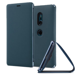 This high quality official SCSH40 bi-fold folio case from Sony houses your Xperia XZ2 smartphone, providing protection and access to your ports and features while incorporating a built-in viewing stand - in green.
