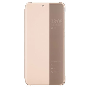 Protect your Huawei P20 Smart's screen and keep up to date with the time, weather, call notifications and more thanks to the intuitively designed smart view window on the pink/rose gold Huawei flip case. Crafted from the finest materials.