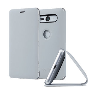 This high quality official bi-fold SCSH50 folio case from Sony houses your Xperia XZ2 Compact smartphone, providing protection and access to your ports and features while incorporating a built-in viewing stand - in grey.