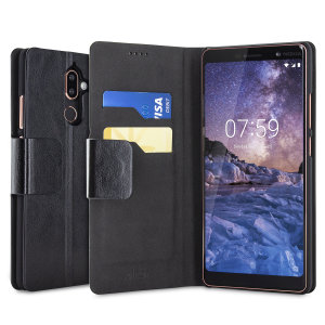 The Olixar leather-style Nokia 7 Plus Wallet Stand Case in black provides enclosed protection and can also be used to hold your credit cards. The case also transforms into a viewing stand for added convenience.