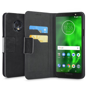 The Olixar leather-style Motorola Moto G6 Wallet Case in black attaches to the back of your phone to provide enclosed protection and can also be used to hold your credit cards. So leave your regular wallet at home when you need to travel light.