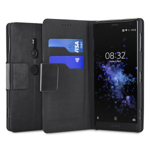 The Olixar leather-style Sony Xperia XZ2 Wallet Stand Case in black provides enclosed protection and can also be used to hold your credit cards. The case also transforms into a viewing stand for added convenience.