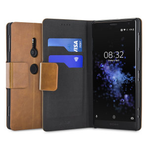 The Olixar leather-style Sony Xperia XZ2 Wallet Stand Case in tan provides enclosed protection and can also be used to hold your credit cards. The case also transforms into a viewing stand for added convenience.