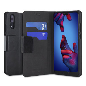 The Olixar leather-style Huawei P20 Wallet Stand Case in black provides enclosed protection and can also be used to hold your credit cards. The case also transforms into a viewing stand for added convenience.