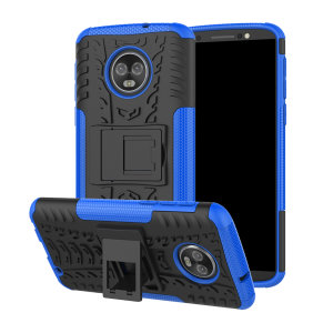 Protect your Motorola Moto G6 Plus from bumps and scrapes with this ArmourDillo case in blue. Comprised of an inner TPU case and an outer impact-resistant exoskeleton, the Armourdillo not only offers robust protection, but also a sleek modern styling.