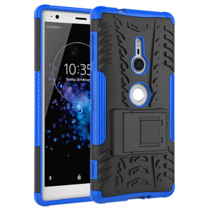 Protect your Sony Xperia XZ2 from bumps and scrapes with this blue ArmourDillo case. Comprised of an inner TPU case and an outer impact-resistant exoskeleton, with a built-in viewing stand.