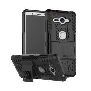 Protect your Sony Xperia XZ2 Compact from bumps and scrapes with this black ArmourDillo case. Comprised of an inner TPU case and an outer impact-resistant exoskeleton, with a built-in viewing stand.
