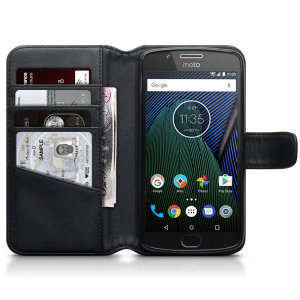This black genuine leather wallet case offers perfect protection for your Motorola Moto G5. Featuring premium stitch finishing, as well as featuring slots for your cards, cash and documents.