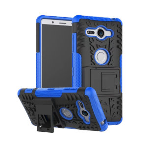 Protect your Sony Xperia XZ2 Compact from bumps and scrapes with this blue ArmourDillo case. Comprised of an inner TPU case and an outer impact-resistant exoskeleton, with a built-in viewing stand.