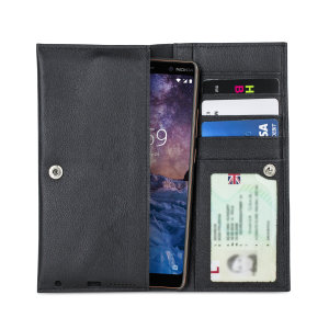 Crafted from premium quality genuine leather, with precision stitching and stud closure, and featuring a luxurious soft lining, document pockets and card slots, the Primo Wallet for the Nokia 7 Plus will protect your phone in style.