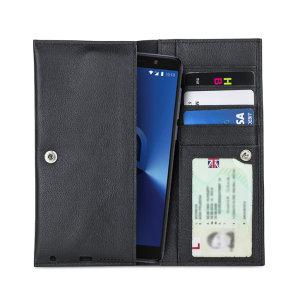 Confeccionada con piel de alta calidad totalmente auténtica, incluye ranuras para usar la funda a modo de cartera y poder proteger de golpes y arañazos su Alcatel 3X.