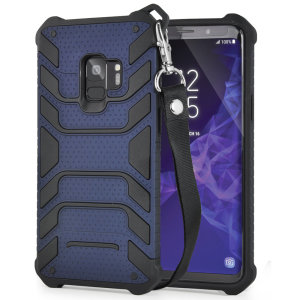 Protect your shiny new Samsung Galaxy S9 from daily bumps, drops and scratches with Olixar Laminar dual-layer tough case in navy. The case features a quickly removable lanyard, which allows your phone to be securely transported around your neck.
