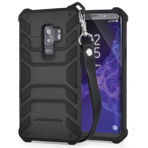 Protect your shiny new Samsung Galaxy S9 Plus from daily bumps, drops and scratches with Olixar Laminar dual-layer tough case in black. The case features a quickly removable lanyard, which allows your phone to be securely transported around your neck.