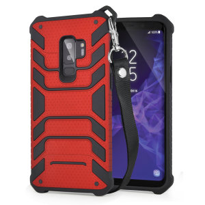 Protect your shiny new Samsung Galaxy S9 Plus from daily bumps, drops and scratches with Olixar Laminar dual-layer tough case in red. The case features a quickly removable lanyard, which allows your phone to be securely transported around your neck.
