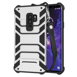 Protect your shiny new Samsung Galaxy S9 Plus from daily bumps, drops and scratches with Olixar Laminar dual-layer tough case in silver. The case features a quickly removable lanyard, which allows your phone to be securely transported around your neck.