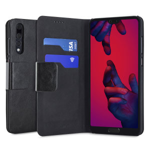 Protect your Huawei P20 Pro with this durable and stylish black leather-style wallet case by Olixar. What's more, this case transforms into a handy stand to view media.