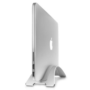 "A beautifully ergonomic stand for your MacBook Pro 13"", 15"" or 13"" / 15"" Retina display models that elevates your Macbook for a clean workspace and to use your laptop as a desktop computer, in silver."