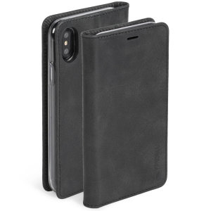 Krusell's 4 Card Sunne Folio Wallet leather case in vintage black combines Nordic chic with Krusell's values of sustainable manufacturing for the socially-aware iPhone X owner who seeks 360° protection with extra storage for cash and cards.