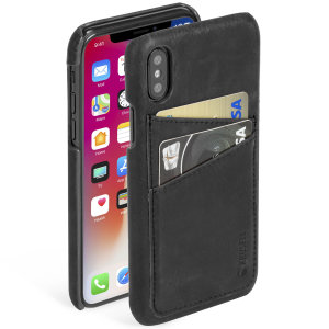 Krusell's 2 Card Sunne Wallet cover in vintage black combines Nordic chic with Krusell's values of sustainable manufacturing for the socially-aware iPhone X owner who wants an elegant genuine leather accessory with extra storage for cash and cards.