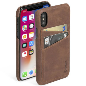 Krusell's 2 Card Sunne Wallet cover in vintage cognac combines Nordic chic with Krusell's values of sustainable manufacturing for the socially-aware iPhone X owner who wants an elegant genuine leather accessory with extra storage for cash and cards.
