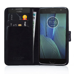This black leather style wallet case offers perfect protection for your Motorola Moto G5S Plus. Featuring a premium stitched finish and internal slots for your cards, cash and documents.