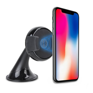 Wirelessly charge your Qi-enabled iPhone X in-car with this wireless charging car holder. Securely position your iPhone in either portrait or landscape all while enjoying convenient and efficient Qi wireless charging.