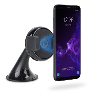 Wirelessly charge your Qi-activated Samsung Galaxy S9 in the car with this wireless car mount. Position your phone securely in portrait or landscape while enjoying a convenient and efficient wireless Qi charge.