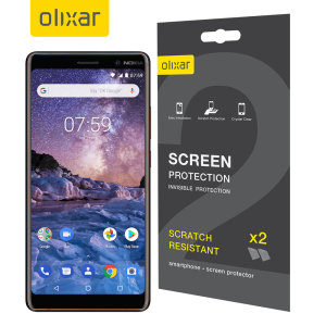Keep your Nokia 7 Plus' screen in pristine condition with this Olixar scratch-resistant screen protector 2-in-1 pack.