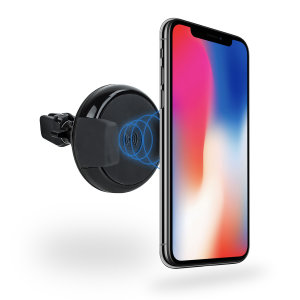 Wirelessly charge your Qi-enabled iPhone X in-car with this wireless charging vent-mounted car holder. Securely position your device in either portrait or landscape all while enjoying convenient and efficient Qi wireless charging.