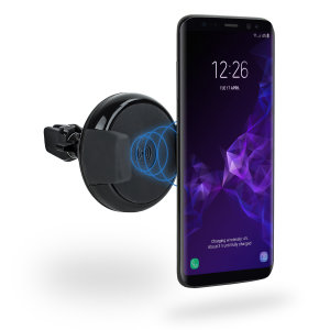 Wirelessly charge your Qi-enabled Samsung Galaxy S9 in-car with this wireless charging vent-mounted car holder. Securely position your device in either portrait or landscape all while enjoying convenient and efficient Qi wireless charging.