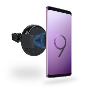Wirelessly charge your Qi-enabled Samsung Galaxy S9 Plus in-car with this wireless charging vent-mounted car holder. Securely position your device in either portrait or landscape all while enjoying convenient and efficient Qi wireless charging.