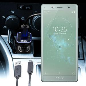 Mantenga su dispositivo Sony Xperia XZ2 Compact totalmente cargado mientras conduce con este cargador de coche con cable en espiral extensible. Además tiene un puerto adicional USB para poder cargar otro aparato.