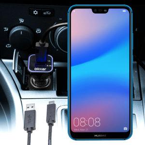 Håll din Huawei P20 Lite fullt laddad på vägen med den 3.1 A billaddaren. Som en extra bouns kan du ladda en extra USB-enhet från den inbyggda USB-C porten.