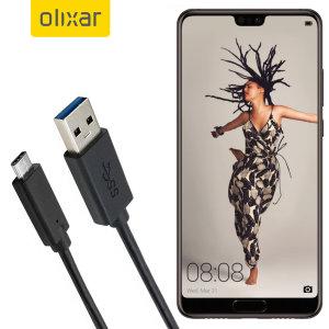 Se till att din Huawei P20 alltid fulladdad och synkroniserad med denna kompatibel USB 3.1 Type- C till USB 3.0 -kabel. Du kan använda den här kabeln med en USB-väggladdare eller via din stationära eller bärbara dator.