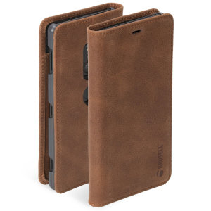 Krusell's 2 Card Sunne Folio Wallet leather case in vintage cognac brown combines Nordic chic with Krusell's values of sustainable manufacturing for the socially-aware Xperia XZ2 owner who seeks 360° protection with extra storage for cash and cards.