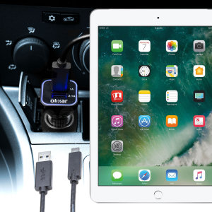 Keep your iPad 9.7 2018 fully charged on the road with this compatible Olixar high power dual USB 3.1A Car Charger with an included high quality USB to Lightning charging cable.