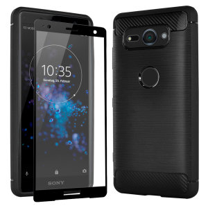 Flexible rugged casing with a premium matte finish non-slip carbon fibre and brushed metal design, the Olixar Sentinel case in black keeps your Sony Xperia XZ2 Compact protected from 360 degrees with the added bonus of a tempered glass screen protector.