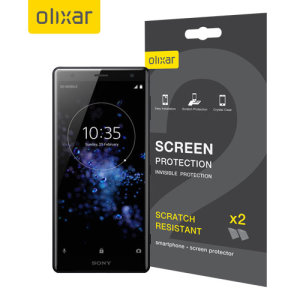 Keep your Sony Xperia XZ2's screen in pristine condition with this Olixar scratch-resistant screen protector 2-in-1 pack.