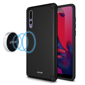 This attractive black mesh Huawei P20 Pro case from Olixar provides a perfect fit, superior grip and protection against scratches, knocks and drops. It also hides a magnetic plate for easy mounting on the two included adhesive magnetic holders.