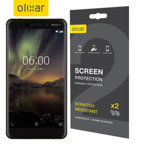 Keep your Nokia 6 2018's screen in pristine condition with this Olixar scratch-resistant screen protector 2-in-1 pack.